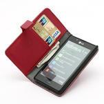 Peňaženkové puzdro na LG Optimus L7 P700 - červené - 6/7