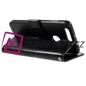 Floay PU kožené puzdro s kamienky na mobil Honor 8 - černé - 6