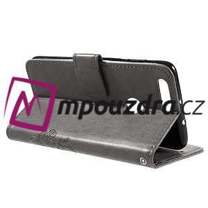 Floay PU kožené puzdro s kamienky na mobil Honor 8 - šedé - 6