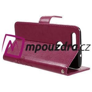 Floay PU kožené puzdro s kamienky pre mobil Honor 8 - rose - 6