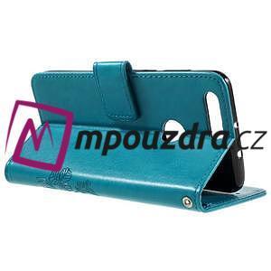 Floay PU kožené puzdro s kamienky na mobil Honor 8 - modré - 6