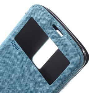 Diary PU kožené puzdro s okienkom na LG K8 - svetlomodré - 6