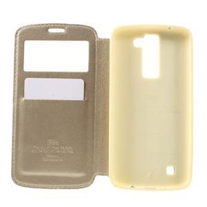 Richi PU kožené puzdro pre mobil LG K8 - zlaté - 6