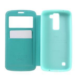Richi PU kožené pouzdro na mobil LG K8 - azurové - 6