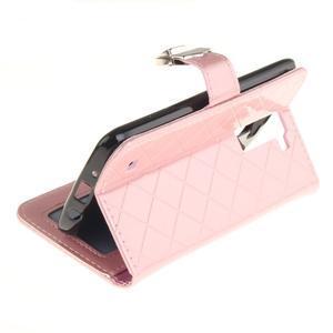 Luxusní PU kožené pouzdro s přezkou na LG K8 - růžové - 6