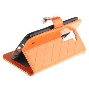 Luxusní PU kožené puzdro s přezkou na LG K8 - oranžové - 6