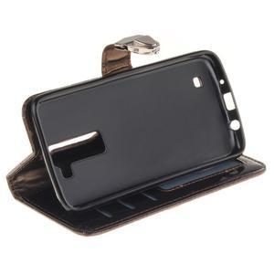 Luxusní PU kožené puzdro s přezkou na LG K8 - hnedé - 6