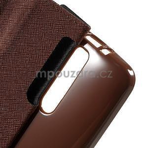 Zapínacie PU kožené puzdro na Asus Zenfone 2 ZE551ML - čierne/hnedé - 6