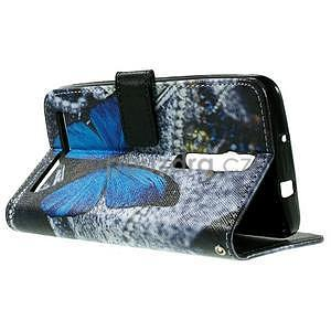 Zapínacie peňaženkové puzdro na Asus Zenfone 2 ZE551ML - modrý motýľ - 6