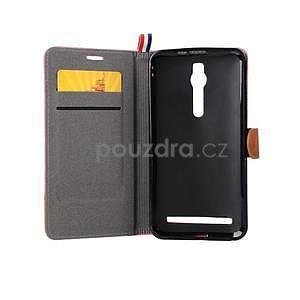 Ružové peňaženkové látkove / PU kožené puzdro pre Asus Zenfone 2 ZE551ML - 6