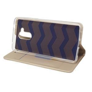 Magnetic PU kožené puzdro na Honor 6C - zlaté - 6