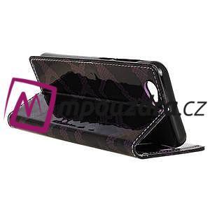 SnakeŠtýle PU kožené peňaženkové puzdro pre HTC One A9s - fialové - 6