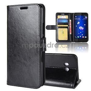 Crazy PU kožené peňaženkové puzdro na mobil HTC U11 - čierne - 6