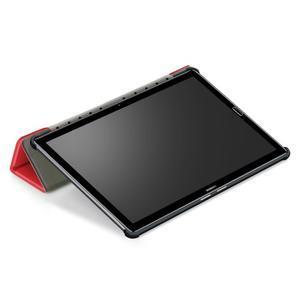 Trifold PU kožené polohovateľné puzdro na Huawei MediaPad M5 10 - červené - 6