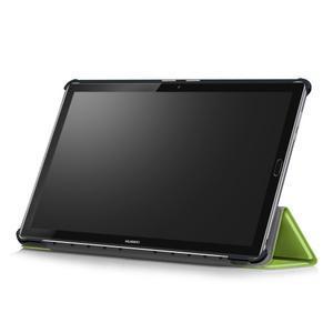 Trifold PU kožené polohovateľné puzdro na Huawei MediaPad M5 10 - zelené - 6