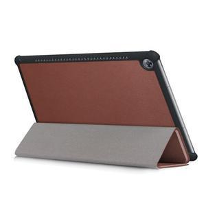 Trifold PU kožené polohovateľné puzdro na Huawei MediaPad M5 10 - hnedé - 6