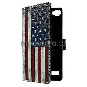 Peňaženkové PU kožené puzdro Lenovo Vibe X2 - USA vlajka - 6