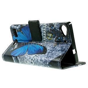 Peňaženkové PU kožené puzdro Lenovo Vibe X2 - Modrý motýľ - 6