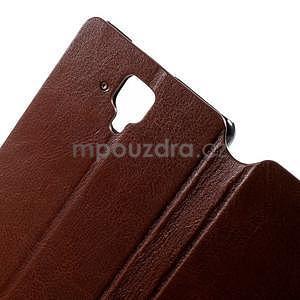 Peňaženkové kožené puzdro na Lenovo A536 - hnedé - 6