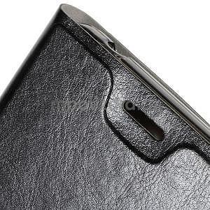 Peňaženkové PU kožené puzdro na Microsoft Lumia 640 XL - čierne - 6
