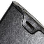 Peňaženkové PU kožené puzdro na Microsoft Lumia 640 XL - čierne - 6/7