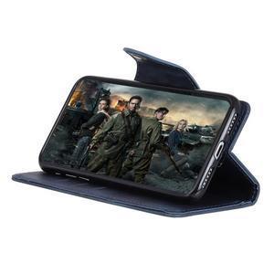 Wall PU kožené puzdro na Motorola Moto G6 Play - tmavomodré - 6