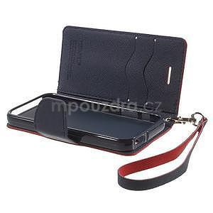 Dvojfarebné peňaženkové puzdro pre iPhone 5 a 5s - červené/tmavomodre - 6