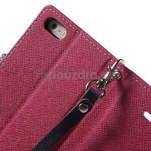Dvojfarebné peňaženkové puzdro na iPhone 5 a 5s - rose/ tmavomodré - 6