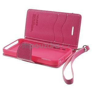 Dvojfarebné peňaženkové puzdro pre iPhone 5 a 5s - ružové/rose - 6