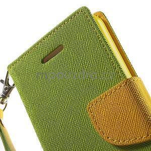Dvojfarebné peňaženkové puzdro na iPhone 5 a 5s - zelené/ žlté - 6