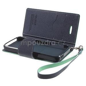Dvojfarebné peňaženkové puzdro pre iPhone 5 a 5s - azurové/ tmavomodré - 6
