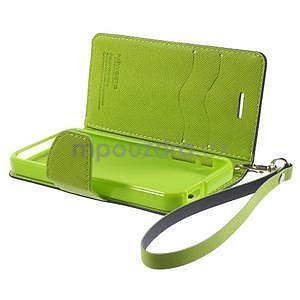 Dvojfarebné peňaženkové puzdro pre iPhone 5 a 5s - tmavomodre/zelené - 6