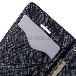 Dvojfarebné peňaženkové puzdro na iPhone 5 a 5s - fialové/tmavomodré - 6