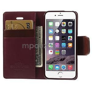 Peňaženkové koženkové puzdro na iPhone 5s a iPhone 5 -  vínové - 6