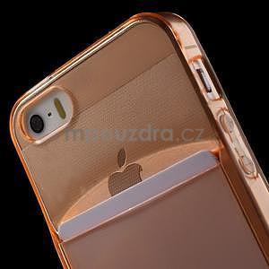 Ultra tenký obal s vreckom pre iPhone 5 a 5s - oranžový - 6