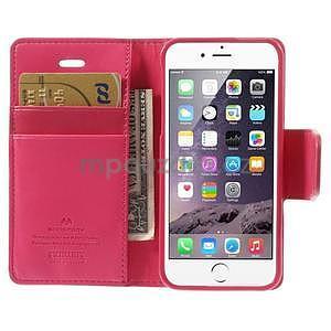 Dvojfarebné peňaženkové puzdro pre iPhone 5 a 5s - rose/ružové - 6
