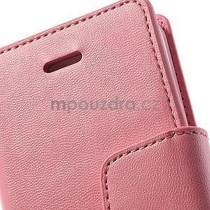 Peňaženkové koženkové puzdro pre iPhone 5s a iPhone 5 - ružové - 6