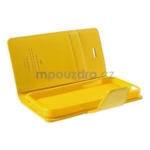 Peňaženkové koženkové puzdro pre iPhone 5s a iPhone 5 - žlté - 6