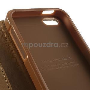 Peňaženkové koženkové puzdro pre iPhone 5s a iPhone 5 - coffee - 6