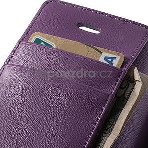 Peňaženkové koženkové puzdro pre iPhone 5s a iPhone 5 - fialové - 6