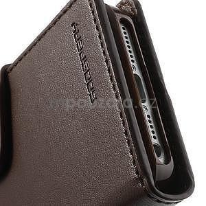 Peňaženkové koženkové puzdro na iPhone 5s a iPhone 5 - hnedé - 6