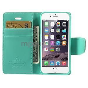 Peňaženkové koženkové puzdro na iPhone 5s a iPhone 5 - azurové - 6