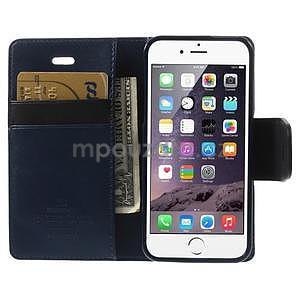 Peňaženkové koženkové puzdro pre iPhone 5s a iPhone 5 - tmavomodré - 6