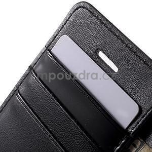 Peňaženkové koženkové puzdro pre iPhone 5 a iPhone 5s - čierne - 6