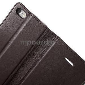Peňaženkové koženkové puzdro na iPhone 5 a iPhone 5s - tmavohnedé - 6