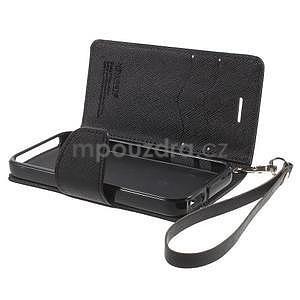 Dvojfarebné peňaženkové puzdro pre iPhone 5 a 5s - čierne/čierne - 6