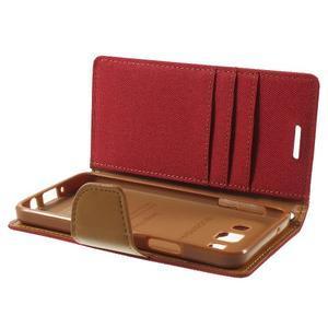 Luxury textilné / koženkové puzdro na Samsung Galaxy A3 - červené - 6