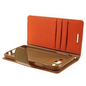 Luxury textilné / koženkové puzdro pre Samsung Galaxy A3 - oranžové - 6