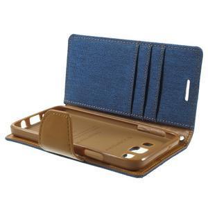 Luxury textilné / koženkové puzdro pre Samsung Galaxy A3    - modré - 6