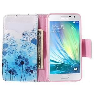 Peňaženkové púzdro na Samsung Galaxy A3 - modré púpavy - 6